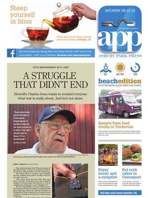 Asbury Park Press front page, Saturday, August 15, 2015