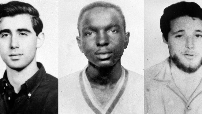 This undated file combination photo made from photos provided by the FBI on June 29, 1964, shows civil rights workers, from left, Andrew Goodman and James Chaney.
