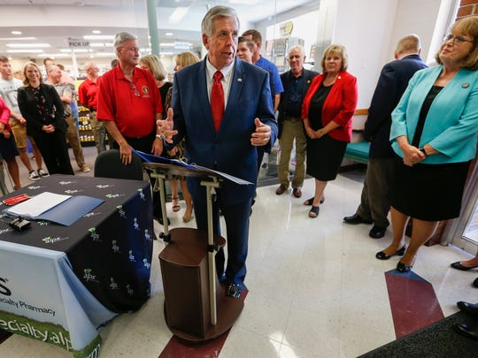 Governor Mike Parson was at Alps Pharmacy on Friday, July 6, 2018 to sign a bill that reinforces efforts to curb opioid abuse and establishes Missouri's drug take-back program.