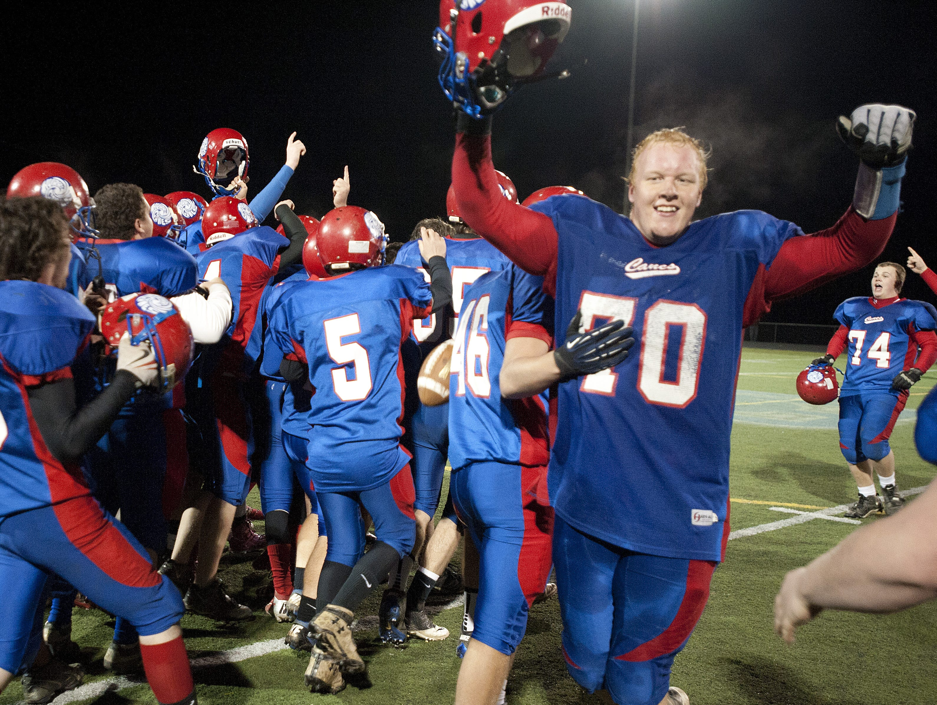 Hartford celebrates its 35-27 win over BFA-St. Albans at the Division I high school football championship game in 2012.
