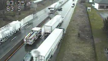 A lane is blocked on I-83 south Monday after a crash near exit 35.