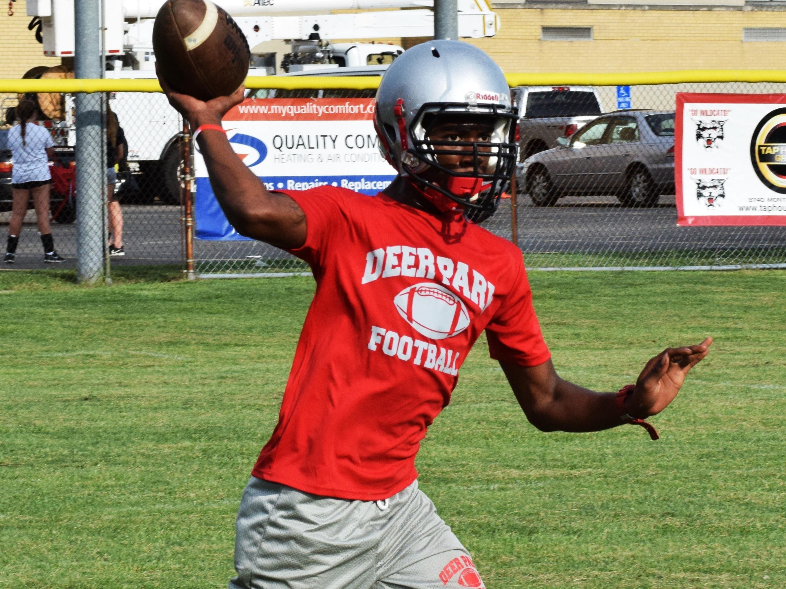 Deer Park quarterback Jordan Yelling looks to connect on a long passes in 2015 for the Wildcats.