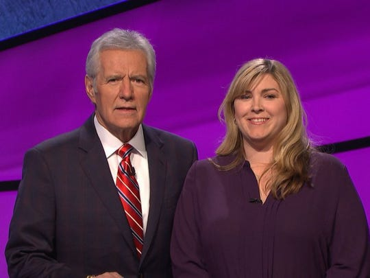 Sandy Hall and Alex Trebek after Hall taped an episode on Jeopardy. The show airs at 3:30 p.m. Friday on NBC. Provided photo by Sandy Hall
