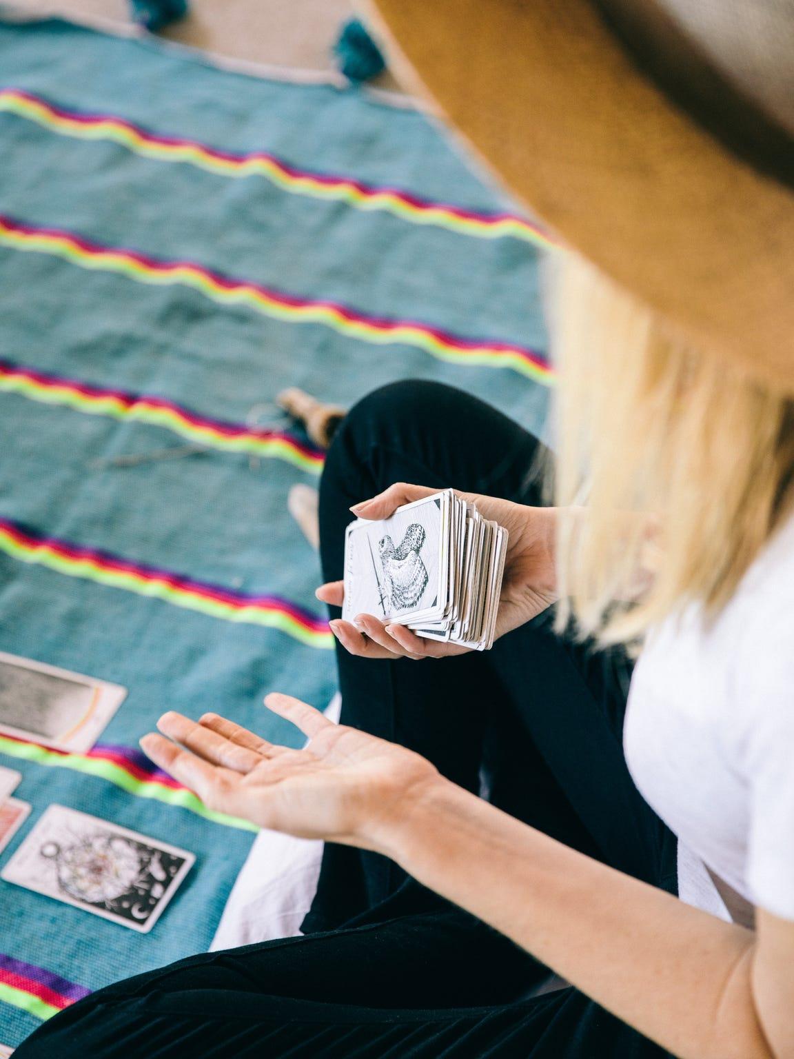 Caris Reid presents a tarot reading in her Joshua Tree