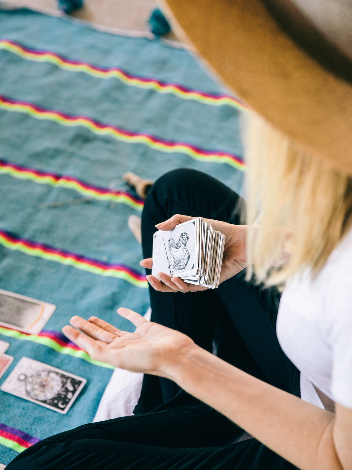 Caris Reid presents a tarot reading in her Joshua Tree