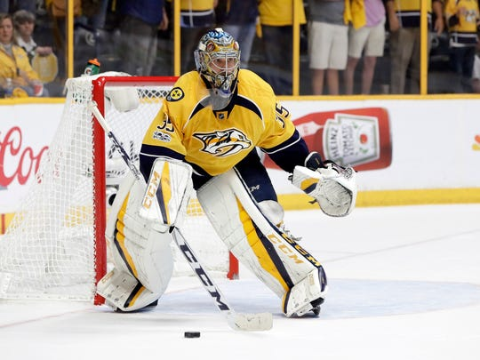 Nashville Predators goalie Pekka Rinne, of Finland, plays against the Anaheim Ducks during the third period in Game 6 of the Western Conference final in the NHL hockey Stanley Cup playoffs Monday, May 22, 2017, in Nashville, Tenn. (AP Photo/Mark Humphrey)