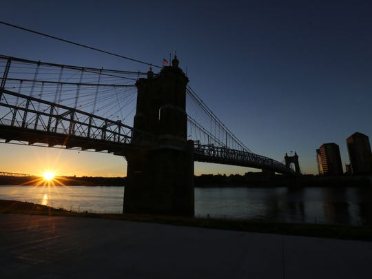 The John A. Roebling Suspension Bridge at sunrise,