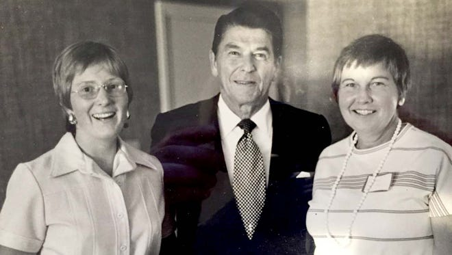 Anne Black, right, with her daughter Pat met Ronald Reagan as Reagan was trying to beat President Gerald Ford for the 1976 presidential nomination. Anne was an undecided delegate to the convention that year and was wooed by both Reagan and Ford.