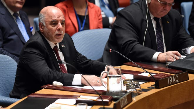 Iraqi Prime Minister Haidar al-Abadi attends a UN Security Council summit meeting on foreign terrorist fighters during the United Nations General Assembly at the United Nations in New York, Sept. 24, 2014.