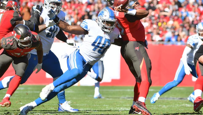Lions rookie linebacker Jarrad Davis had one of his better games of the season against the Buccaneers.