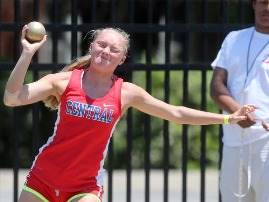 Montgomery Central's Chloe Harp throws the shot put