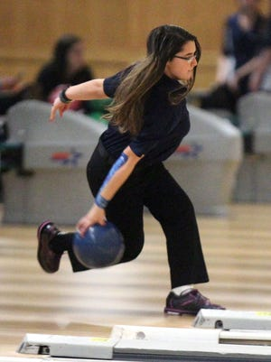 John Jay East Fishkill's Victoria Pacacha competes in the Section 1 girls bowling tournament at Fishkill Bowl Feb. 6, 2017.
