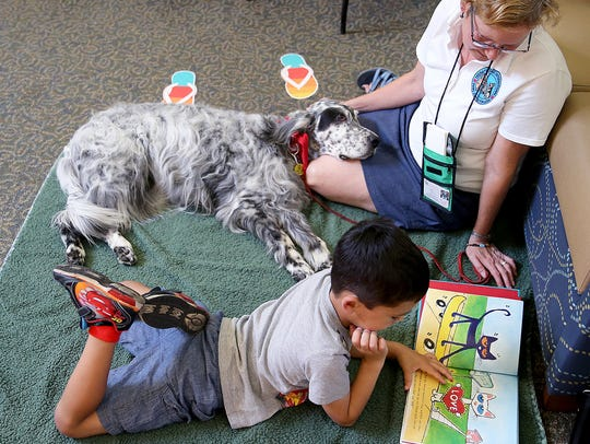 Calvin Del Valle, 6, from Kingston reads a book about