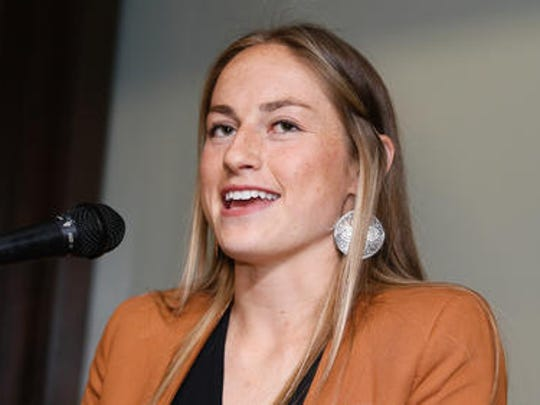 """Olympian Janine Beckie spoke at the Rutgers University women's soccer team's """"Fearless Girl"""" event on Sunday night."""