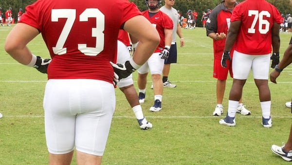 Austin Golson, 73, watches a drill during an August practice. The sophomore offensive tackle is leaving Ole Miss.