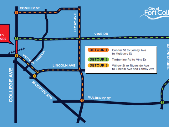 Suggested detours while North College Avenue is closed