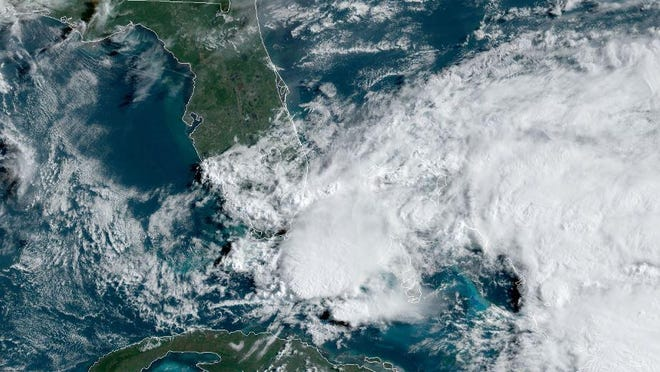 GOES-East satellite image as of 4 p.m. Friday, May 15 2020 of the potential tropical system expected to form Saturday near the northwestern Bahamas.