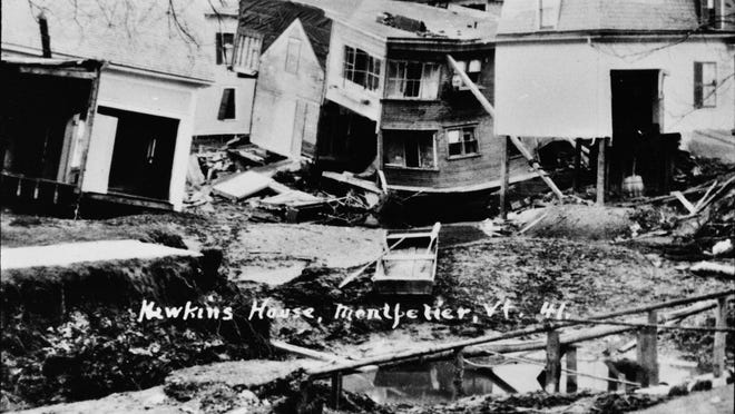 Montpelier homes damaged by 1927 flood.