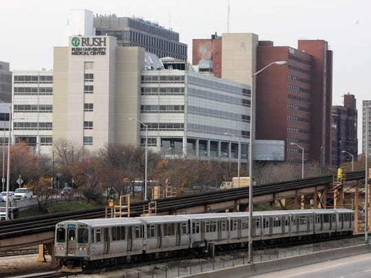 An el train passes the Rush University Medical Center