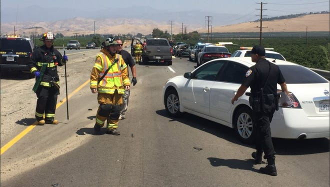 Police and fire respond to a rollover crash on Highway 198 and Road 196.