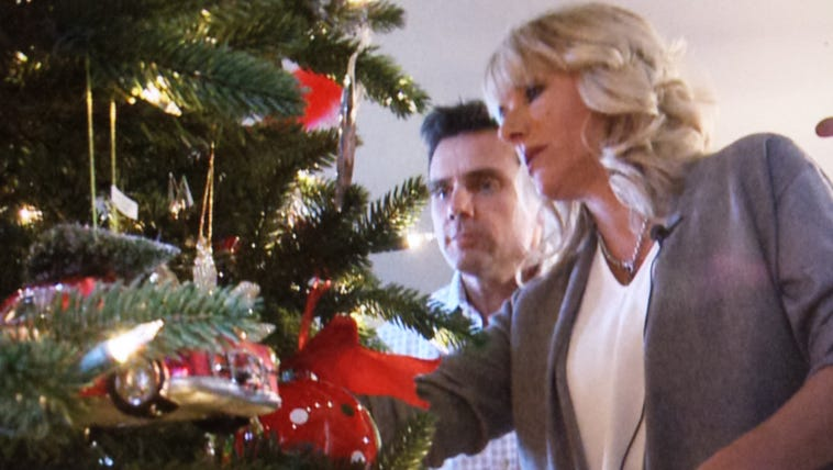 Devon and Veronica Eckhardt decorate their Christmas