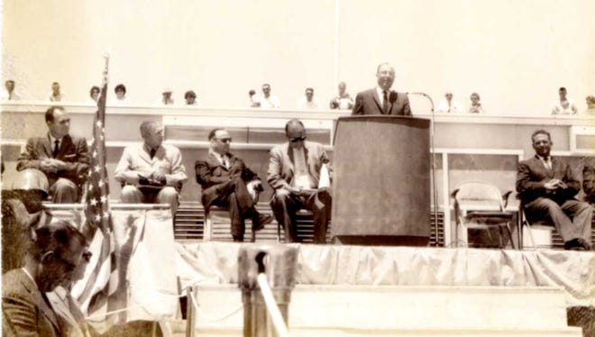 Phoenix Mayor Sam Mardian Jr. is seen here seated second from left at the 1962 dedication of the East Terminal (now Terminal 2) at Sky Harbor International Airport.