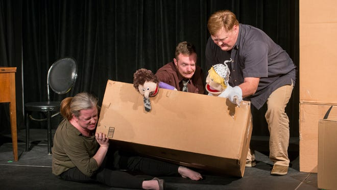 """Denley Messerly, from left, Marshall Corzette, and Jeff Lovingood rehearse the one-act play """"Simple Pleasures"""" as part of the Short Attention Span Theatre at Pensacola Little Theatre on Tuesday, May 1, 2018."""