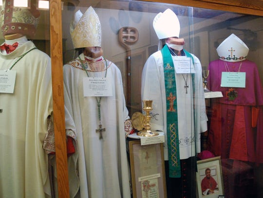 Clerical clothing of parish bishops is on display in