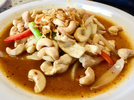 Cashew nuts chicken on the menu at Racha Noodle.