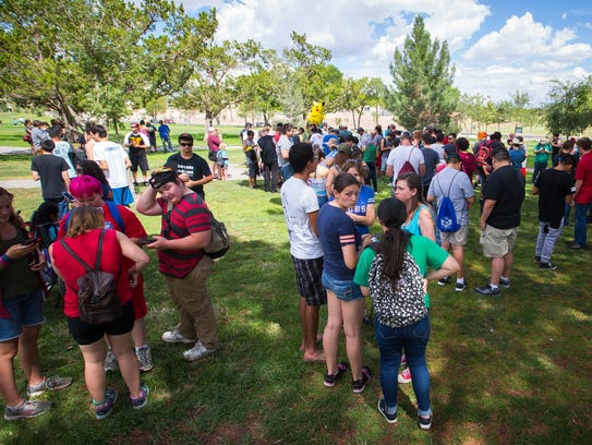 Hundreds gather at Young Park Wednesday, July 27, 2016,