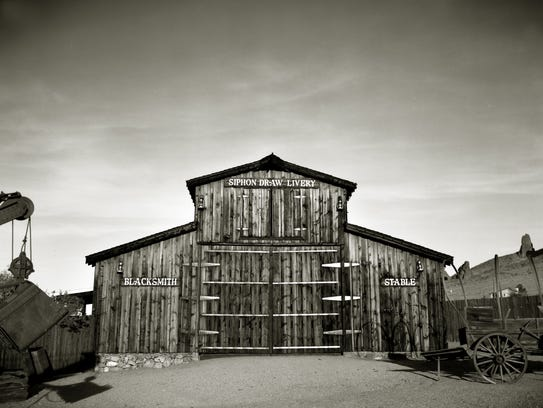 A storage barn sits on the grounds of the Mining Camp