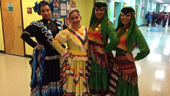 Harmony Science Academy students show off their folklorico and Turkish dance outfits.