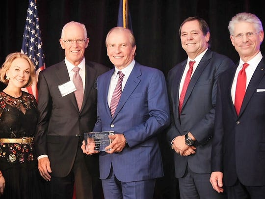 Left to right: Gay Gaddis, chairman of the Texas Business Leadership Council, award namesake Richard Weekley, and award winner Woody Hunt,  El Paso businessman Paul Foster, and Rick Francis, WestStar Bank CEO, at Dec. 5 awards ceremony.