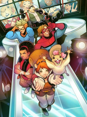 The characters of Freeform's 'New Warriors' in comic-book form (clockwise from top): Microbe, Night Thrasher, Mister Immortal, Squirrel Girl (and Tippy Toe), Debrii and Speedball.