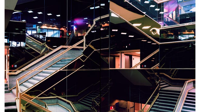 """""""Mirrored Stairwell Diptych,"""" by Joe Johnson, on display at the Rueff Galleries in Purdue's Pao Hall."""
