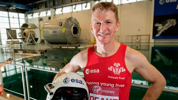 European Space Agency astronaut Tim Peake, shown before his launch to the International Space Station, will run London marathon from space on Sunday.