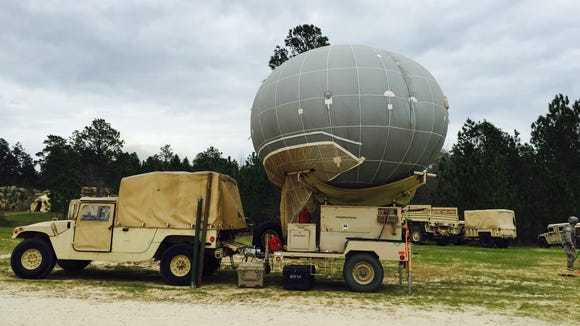 A reconnaissance balloon sits at 1st Brigade's battlefield headquarters area at JRTC.