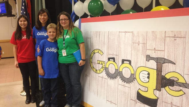 Google marketing managers Nicole Wee and Teresa Yee, Landen Slater, and Landen's mother, Jennifer Knowles.
