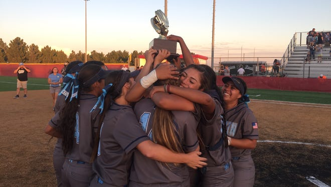 The Chapin softball team celebrates winning the Region 1-5A semifinal title on Friday night in Odessa.