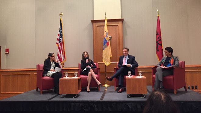 A forum on women in the workplace included (left to right) New Jersey Assemblywoman Gabriela Mosquera, first lady Tammy Murphy, U.S. Rep. Donald Norcross and Rutgers-Camden Chancellor Phoebe Haddon.