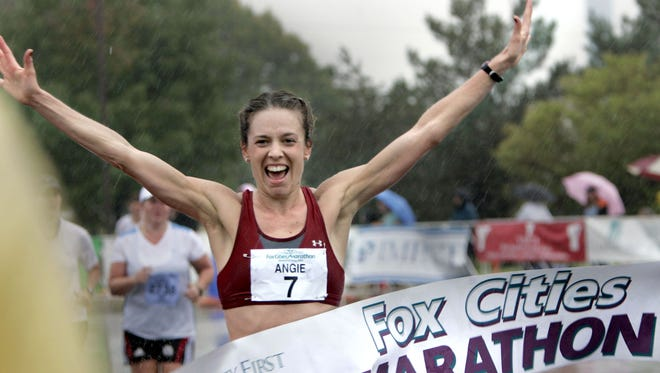 Angie Paprocki of Hoffman Estates, Ill., was the top female finisher in last year's Community First Fox Cities Marathon. The marathon marks 25 years on Sunday.