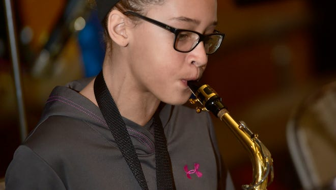 Jillian Sydnor plays the saxophone during Shippensburg 6th Grade Jazz Band rehearsal Wednesday, February 8, 2017 at Shippensburg Middle School. . Students will be performing in the SASD Music Department's 17th Annual Evening of Jazz on February 27 at Luhrs Performing Arts Center.