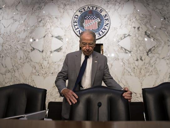 Chairman Chuck Grassley arrives for a Senate Judiciary