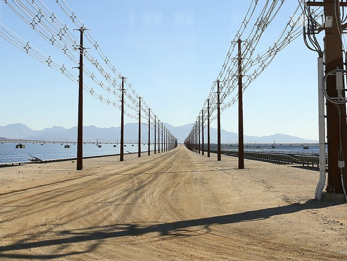 Large transmission lines run through the 550 megawatt