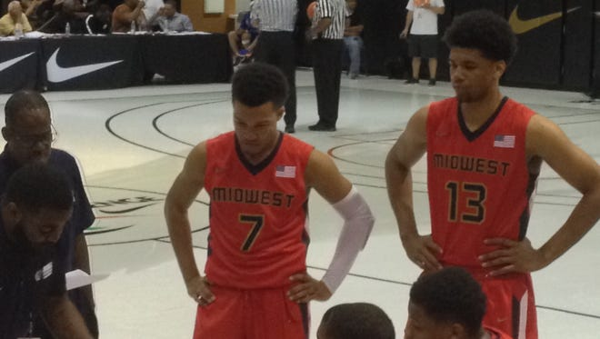 Lincolnshire (Ill.) Stevenson point gaurd Jalen Brunson (No. 7), a Purdue recruiting target, recently help USA Midwest to a third-place finish at the Nike Global Challenge.