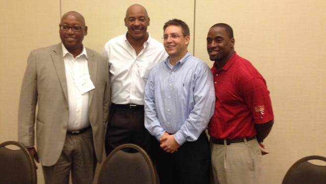 (Left to right) FSU athletic director Stan Wilcox, FAMU athletic director Kellen Winslow, TCC athletic director Rob Chaney and Leon County Commissioner Nick Maddox, who played running back at FSU, participated in a Chamber Conference on Saturday about the NCAA.