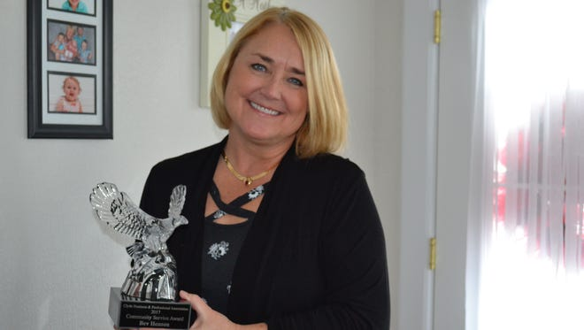 Bev Henson was honored with the Clyde Business and Professional Assocation 2017 Community Service Award for her work on the Clyde Children's Memorial.