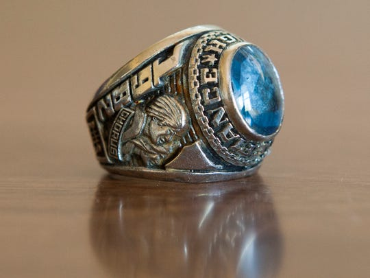 A Fort Defiance High School class ring, with a 1982