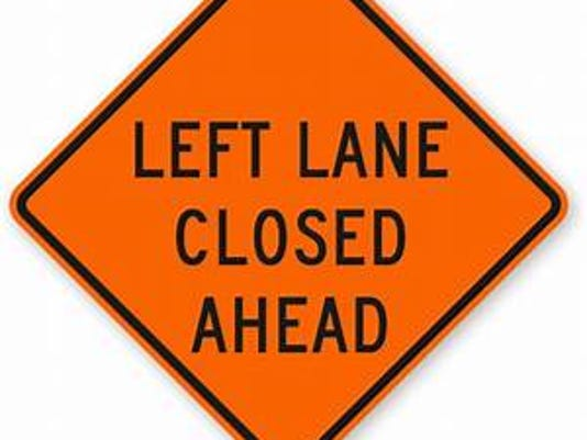 left lane closed sign