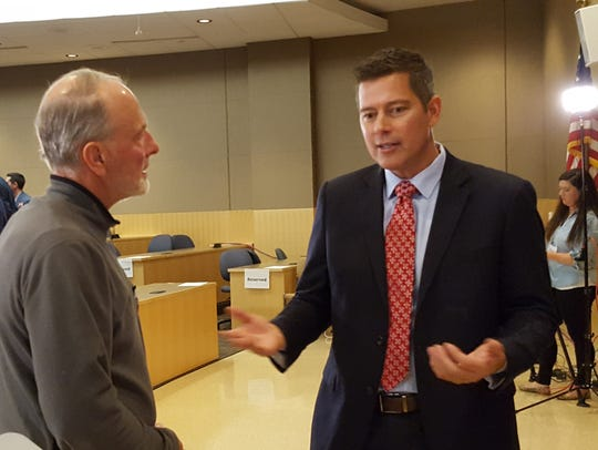 U.S. Rep. Sean Duffy, R-Wausau, talks with attendees